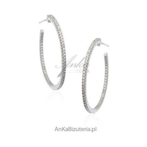 Biżuteria srebrna Kolczyki srebrne koła z cyrkoniami - trzy rozmiary do wyboru, kolor szary
