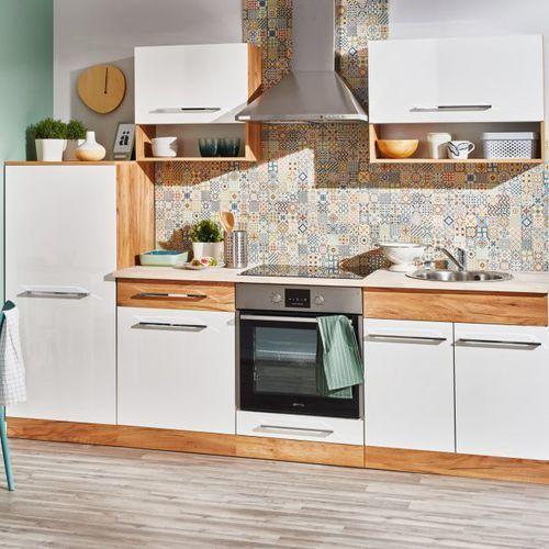 Gotowy zestaw mebli kuchennych double dąb złoty/biały marki Deftrans