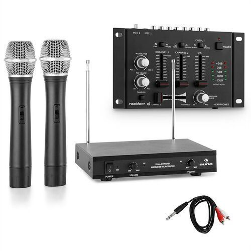 Electronic-star zestaw mikrofonów bezprzewodowych z 3-kanałowym mikserem czarny