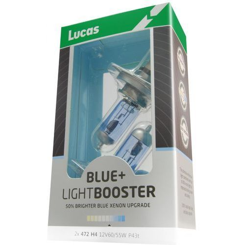 Lucas żarówki samochodowe LightBooster H4 12V 60/55W +50% Blue 2 sztuki