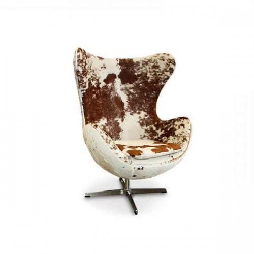 Fotel JAJO inspirowany proj. Egg Chair - skóra brązowe łaty