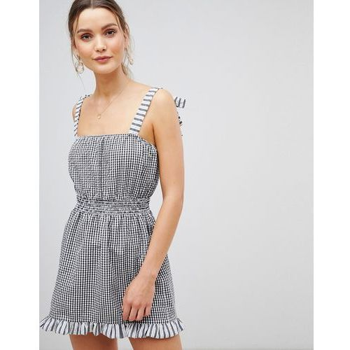 Asos design gingham tie shoulder shirred beach dress - multi