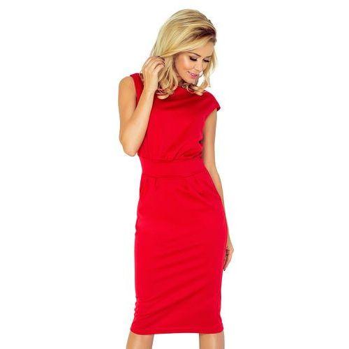 Czerwona Sukienka Elegancka Midi z Zaznaczoną Talią, w 5 rozmiarach
