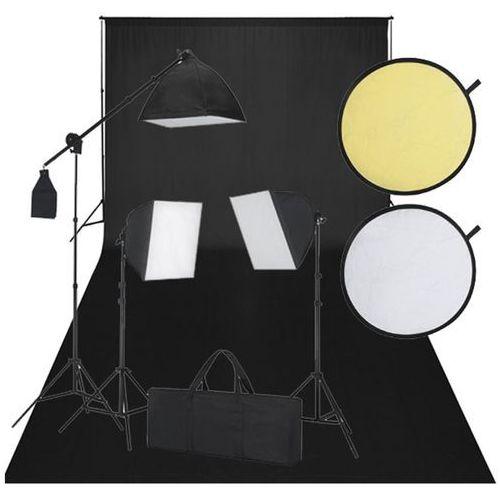 Vidaxl zestaw do studio: czarne tło, 3 lampy światła ciągłego i blenda