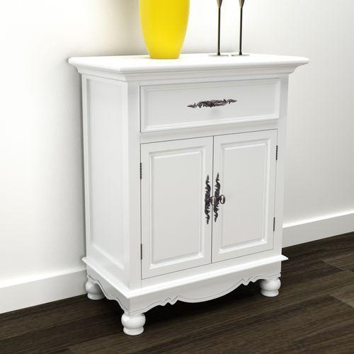 Biała drewniana szafka z podwójnymi drzwiami i szufladą, vidaXL z VidaXL