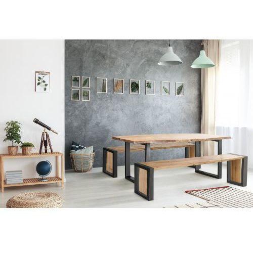 Stół dębowy basic - czarny z naturalną krawędzią marki Konar meble kolbudy