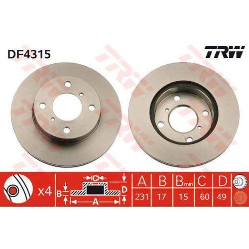 TARCZA HAM TRW DF4315 SUZUKI ALTO IV 1.1 02-, WAGON R+ 1.0, 1.2, 1.2 4WD 98-00 (3322937400560)