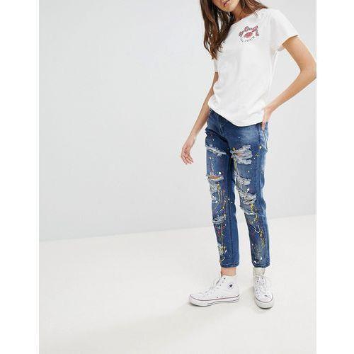 Glamorous Paint Splat Ripped Boyfriend Jeans - Blue