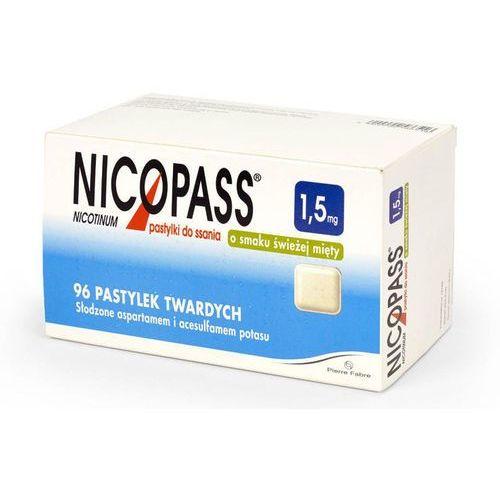 Nicopass 1,5mg x 96 pastylek do ssania o smaku świeżej mięty marki Pierre fabre