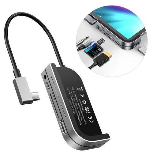 adapter hub przejściówka z usb typ c na usb 3.0 / 4k hdmi / czytnik kart tf, sd / usb typ c pd / 3.5mm mini jack szary (cahub-wj0g) marki Baseus