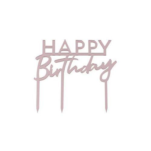 Topper akrylowy na tort Happy Birthday różowy - 11 cm - 1 szt. (5056275131173)