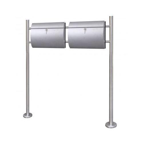 Podwójna skrzynka na listy na stojaku wykonana ze stali nierdzewnej (2x50352+50355), vidaXL