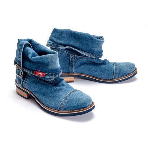 44c0264 jeans, botki damskie - niebieski, Lanqier