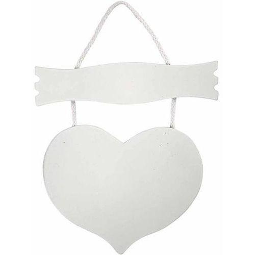 Białe serce z tabliczką MDF 28x19 cm