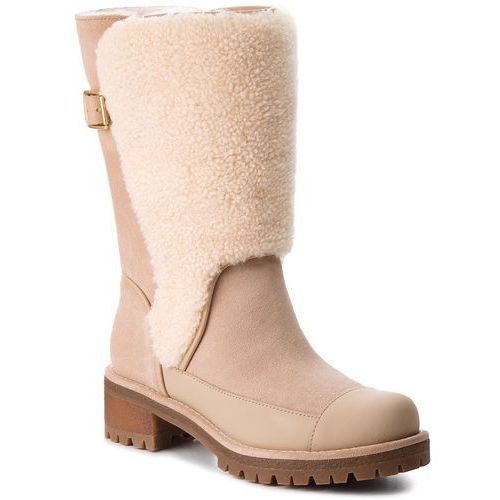 Kozaki TORY BURCH - Sloan Shearling Boot 49198 Perfect Sand/Natural 256, kolor beżowy