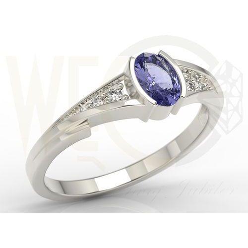Pierścionek zaręczynowy z białego złota z tanzanitem i diamentami jp-2705b marki Węc - twój jubiler
