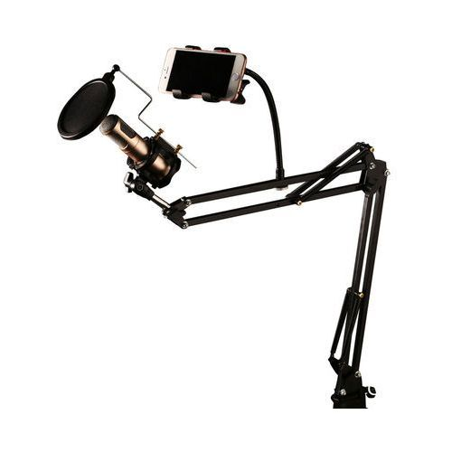 REMAX CK-100 stołowy uchwyt statyw mikrofonowy z filtrem POP czarny, 17680 (10498390)