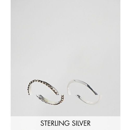 ASOS DESIGN Pack Of 2 Sterling Silver Engraved And Flat Edge Rings - Silver