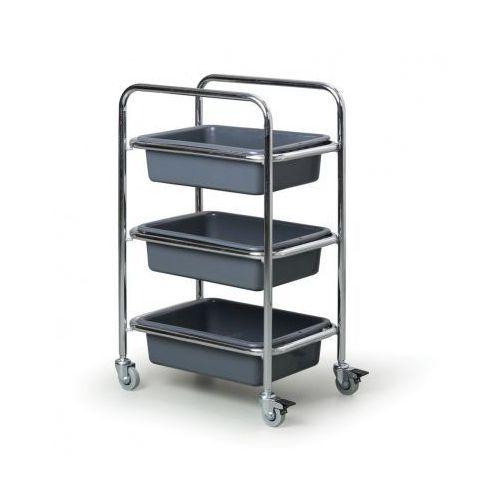 Wózek ze stali nierdzewnej z pojemnikami plastikowymi