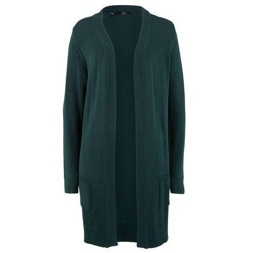 Sweter bez zapięcia szary melanż + czarny marki Bonprix