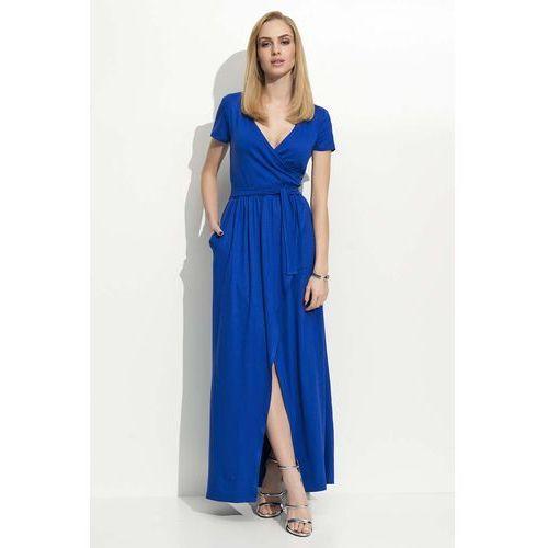 Chabrowa Sukienka Letnia Maxi na Zakładkę, kolor niebieski