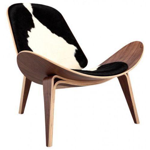 Krzesło inspirowane proj. shell chair - pony czarne łaty marki Design town