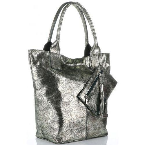 72f7c754b1173 eleganckie torebki damskie skórzany shopperbag z etui w rozmiarze xl  zielone ze złotem (kolory) marki Vittoria gotti 225