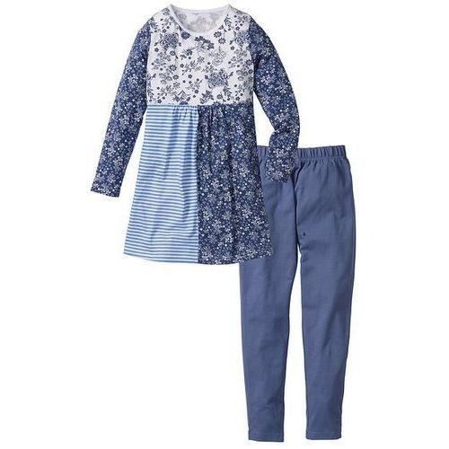 Sukienka + długie legginsy (2 części) bonprix biało-niebieski indygo z nadrukiem (sukienka dziecięca)