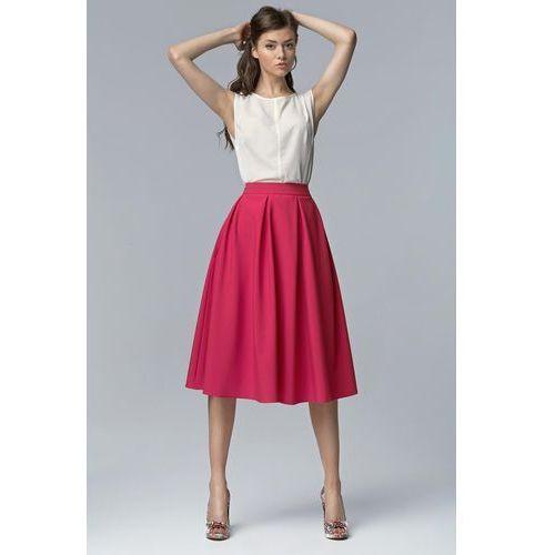 Nife Fuksja modna rozkloszowana spódnica midi