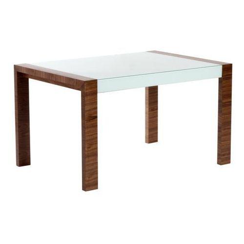 D2.design Stół milan rozkładany 130/170 outlet białe szkło, podstawa orzech