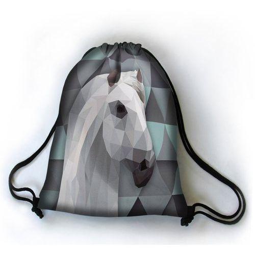 Designerski plecak worek Alabastrowy Rumak - czarny ||szary ||turkusowy