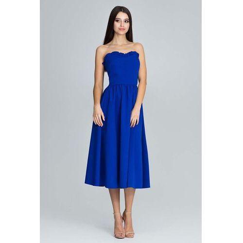 Niebieska wieczorowa midi sukienka gorsetowa z falbankami, Figl, 36-42