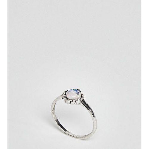 ASOS CURVE Mermaid Square Stone Pinky Ring - Silver, kolor różowy