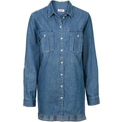 Długa koszula dżinsowa, długi rękaw bonprix niebieski