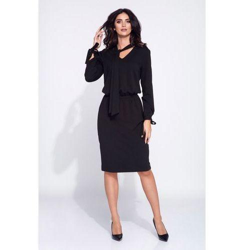 a38eb34682 Czarna sukienka z wiązaniem przy dekolcie 308 Black