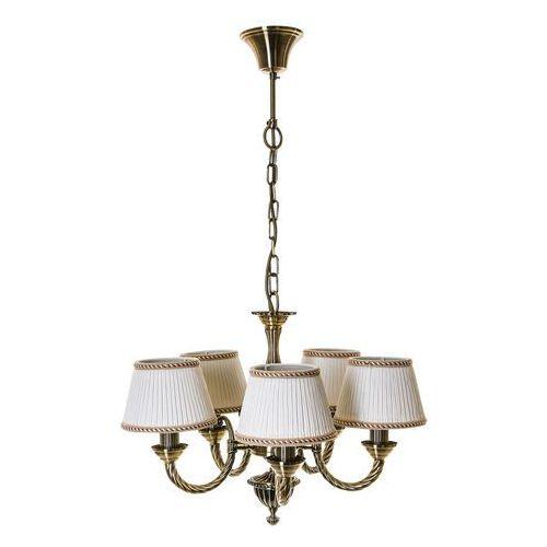 Żyrandol LAMPA wisząca FRATI MD71028/5 Italux klasyczna OPRAWA abażurowa biała złota (5900644343356)