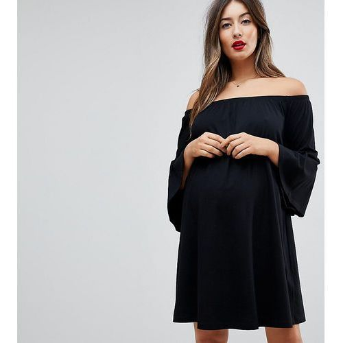 off shoulder mini dress with trumpet sleeve - black marki Asos maternity