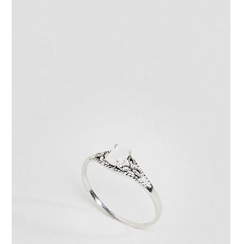 ASOS DESIGN Curve Sterling Silver Faux Moonstone Ornate Engraved Ring - Silver