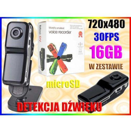 MINI KAMERA SZPIEGOWSKA +AKCESORIA DET. DŹW. +16GB (kamera monitoringowa)