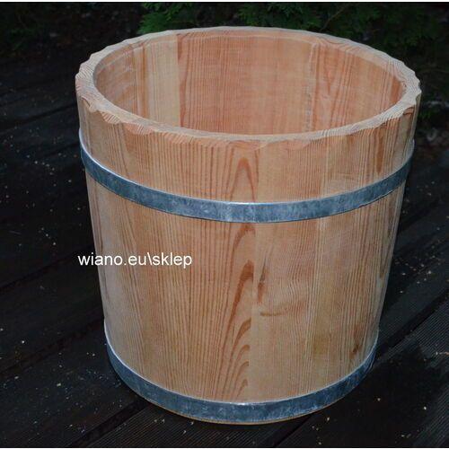 Naczynie klepkowe drewniane ręcznie wykonane - donica.