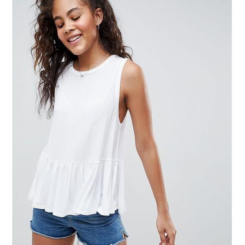 ASOS DESIGN Tall Sleeveless Swing Top With Dropped Armhole And Pephem - White