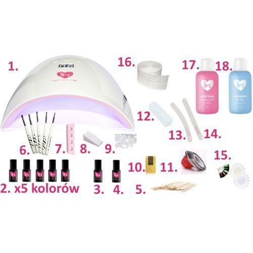 My no1 Zestaw do manicure hybrydowego z lampą pro red 48w 6 lakierów