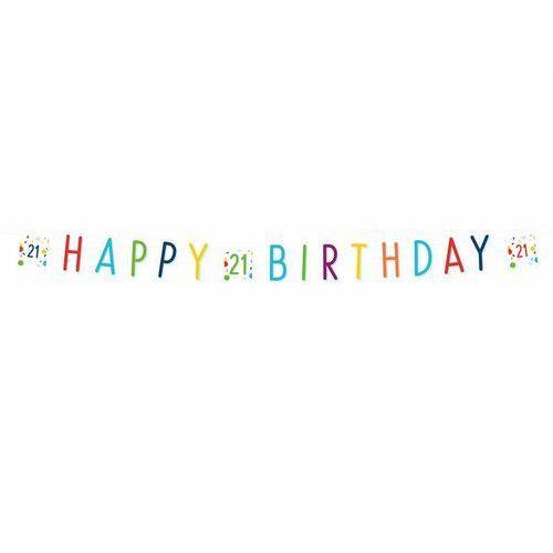 Baner Happy Birthday na dwudzieste pierwsze urodziny Konfetti - 180 cm - 1 szt. (0194099005333)