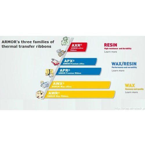 ARMOR taśma termotransferowa, APX FH+ woskowo-żywiczna, 110mm, czarny