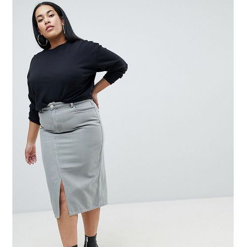 Asos design curve denim midi skirt in khaki - green, Asos curve