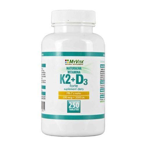 Tabletki Witamina K2 MK - 7 100 mcg + D3 2000 iu - 250 tabletek MyVita