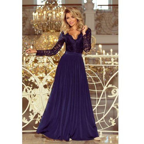 bbe3781919 214-1 MADLEN długa suknia z koronkowym dekoltem i długim rękawkiem -  GRANATOWA