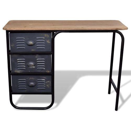 vidaXL Biurko, szafka z trzema szufladami w stylu industrialnym - produkt z kategorii- szafki