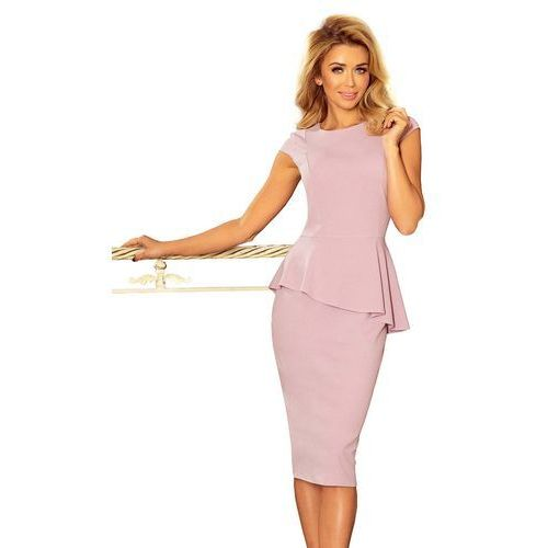Różowa Elegancka Ołówkowa Sukienka Midi z Asymetryczną Baskinką, ołówkowa