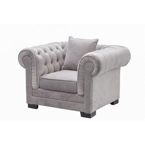 Dekoria  fotel chesterfield classic velvet light grey 118x96x77cm, 118x96x77cm